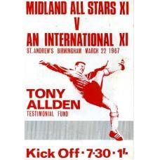 22/03/1967 Tony Allden Testimonial Fund--Midland All Stars XI v An International XI at St Andrews