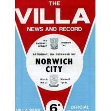 16/12/1967  Aston Villa v Norwich City
