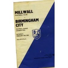 10/02/1968 Millwall v Birmingham City