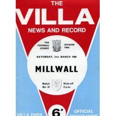 02/03/1968 Aston Villa v Millwall