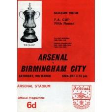 09/03/1968  Arsenal v Birmingham City FA Cup Round 5
