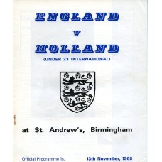 13/11/1968  England v Holland (Under 23 International)