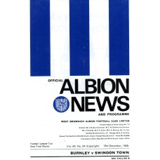 18/12/1968 Burnley v Swindon Town  FLC Semi Final Replay