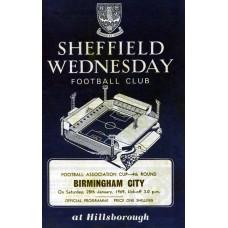 25/01/1969 Sheffield Wednesday v Birmingham City  FA Cup Round 4