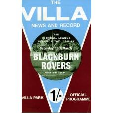 15/03/1969  Aston Villa v Blackburn Rovers
