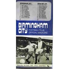 04/09/1971 Birmingham City v Charlton Athletic