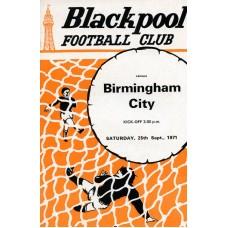 25/09/1971  Blackpool v Birmingham City
