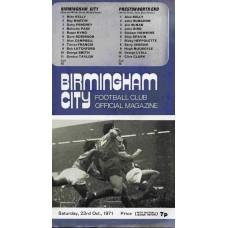 23/10/1971 Birmingham City v Preston North End