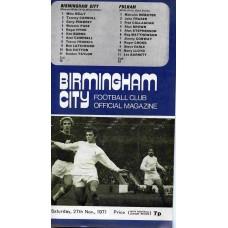27/11/1971 Birmingham City v Fulham
