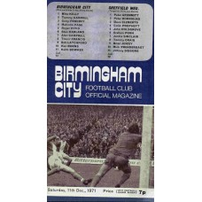 11/12/1971 Birmingham City v Sheffield Wednesday