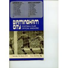11/03/1972  Birmingham City v Queens Park Rangers