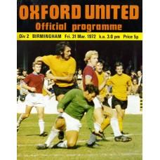 31/03/1972  Oxford United v Birmingham City