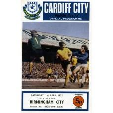 01/04/1972  Cardiff City v Birmingham City