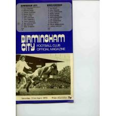 22/04/1972  Birmingham City v Middlesbtough