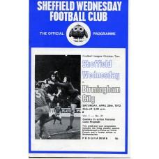 29/04/1972  Sheffield Wednesday v Birmingham City